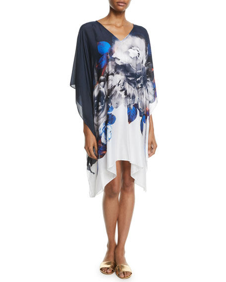 Picturesque Short Floral Coverup Kaftan
