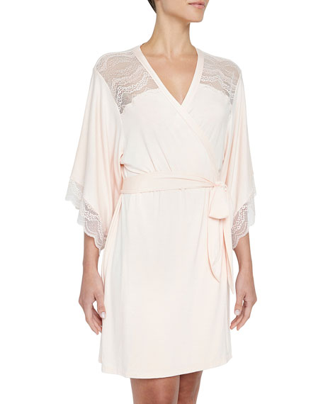 Eberjey Esperanza Lace-Trim Kimono Robe