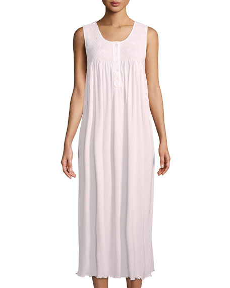 P Jamas Dandelion Sleeveless Long Pima Cotton Nightgown