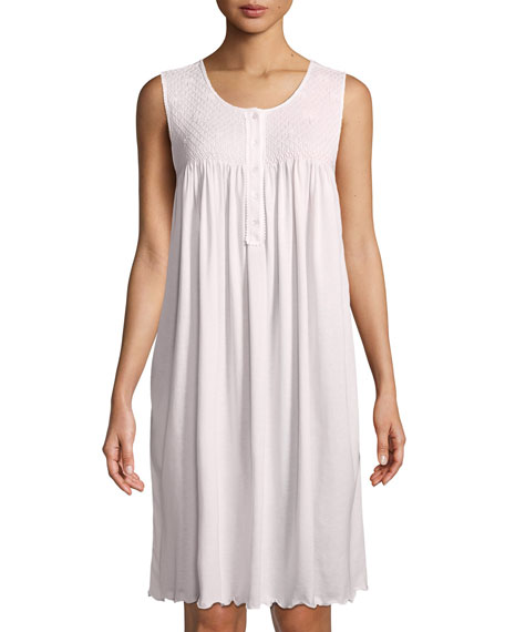 P Jamas Dandelion Sleeveless Short Pima Cotton Nightgown
