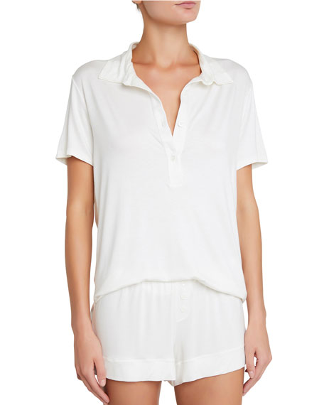 Agnes Boyfriend Lounge Polo Top in Ivory