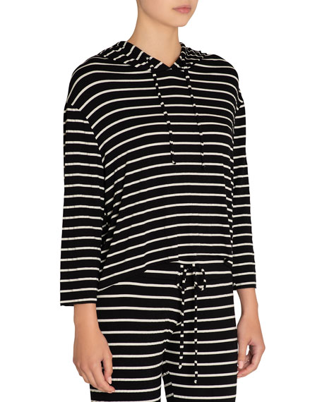Striped High-Low Lounge Hoodie