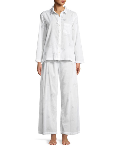 POUR LES FEMMES Palms Cotton Pajama Set in Grey