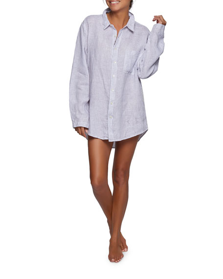Striped Linen Boyfriend Sleepshirt