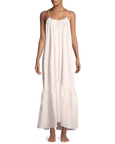 Long Low-Back Ruffled Linen Nightgown