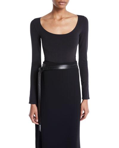 Scoop-Neck Long-Sleeve Bodysuit