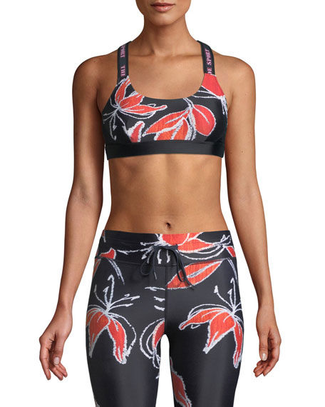 Alex Hibiscus-Print Sports Bra