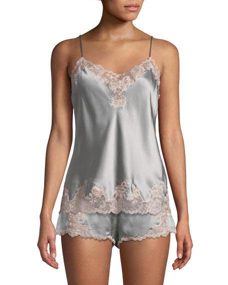 Josie Natori Lolita Lace-Trim Silk Camisole