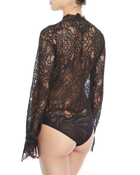 Mixed Lace Long-Sleeve Button-Front Bodysuit