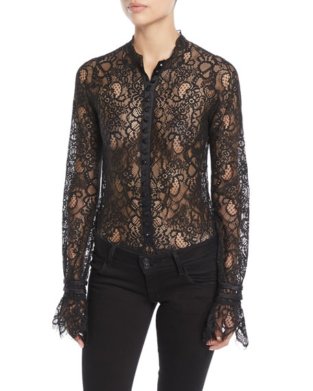 Mixed Lace Long-Sleeve Button-Front Bodysuit in Black