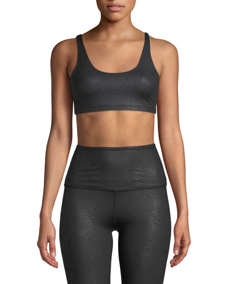 Viper Strappy Scoop-Neck Snake Foil Sports Bra