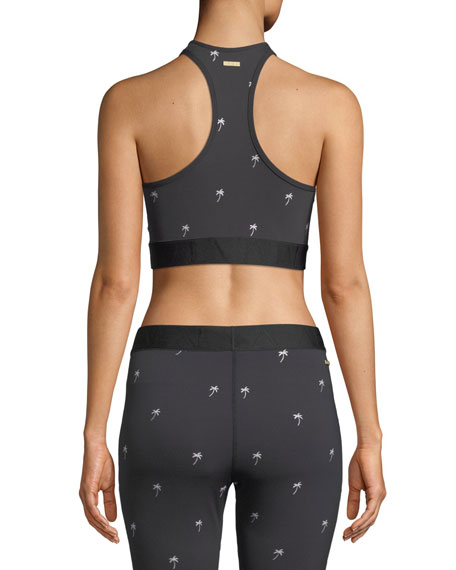 Palm-Embroidered Racerback Sports Bra