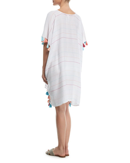 V-Neck Striped Kaftan Coverup w/ Tassel Trim, One Size
