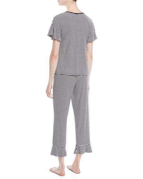 spring stripe cropped pajama set