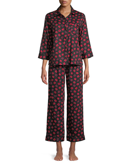 long printed sateen pajama set