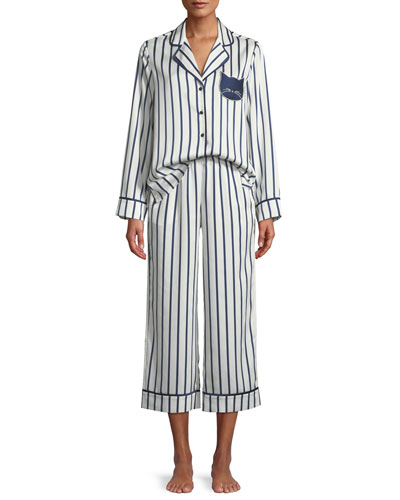 striped cropped pajama set with cat face detail