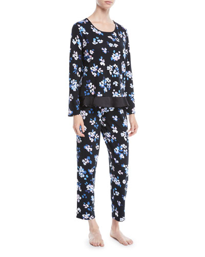 floral print long pajama set