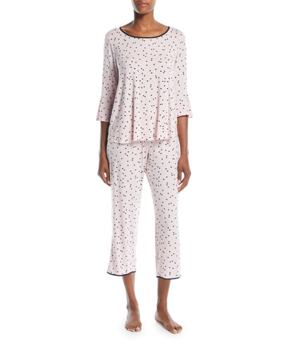 scattered dots cropped pajama set