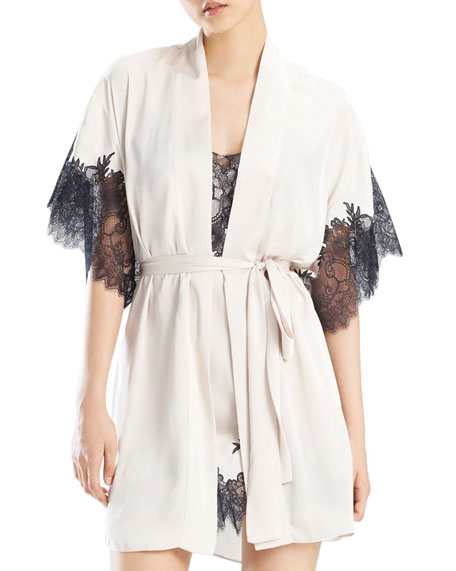 Natori L'Amour Lace-Trim Short Robe
