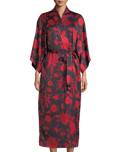 Japonisme Floral-Print Long Robe