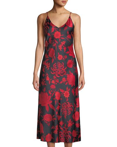 Japonisme Floral-Print Nightgown