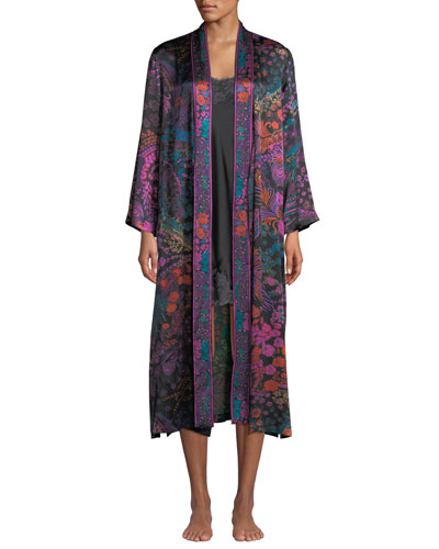 Nouveau Floral-Print Silk Long Duster Robe