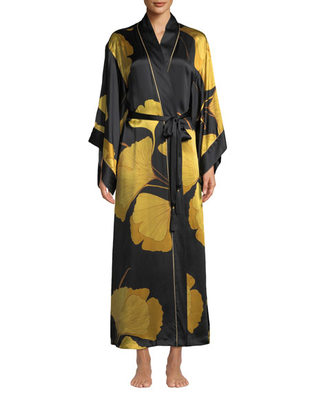 Josie Natori LONG GINKGO LEAF-PRINT SILK DROP-SLEEVE ROBE