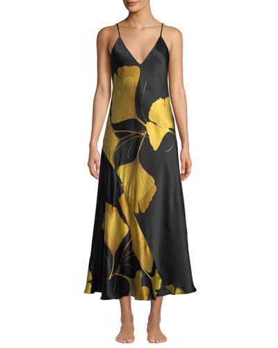 Ginkgo Leaf-Print Long Silk Nightgown