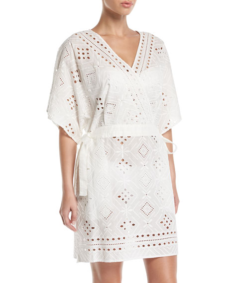 JETS BY JESSIKA ALLEN Indulgence V-Neck Eyelet Kaftan in White