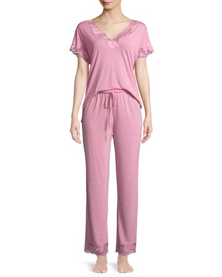 Zen Floral-Trim Short-Sleeve Pajama Set
