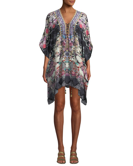 Camilla Printed Lace-Up Short Kaftan Coverup