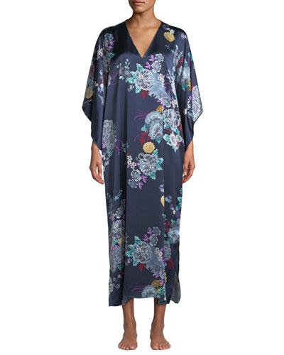Angkor Floral-Print Silk Caftan