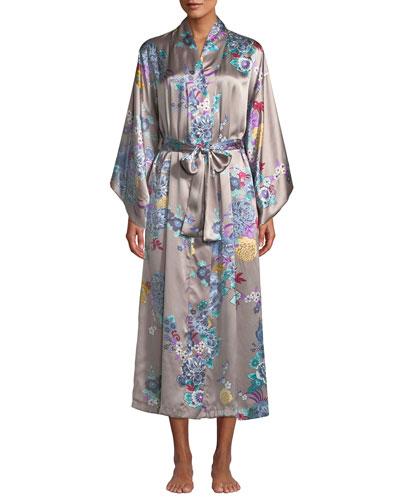 Angkor Long Floral-Print Silk Robe