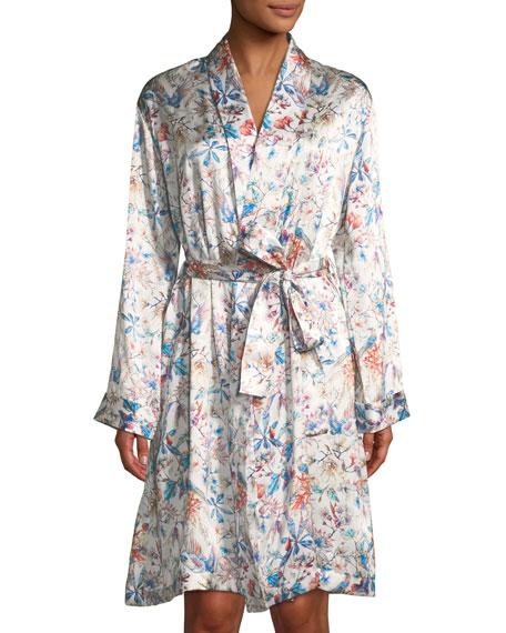 Brindisi Short Floral-Print Silk Robe