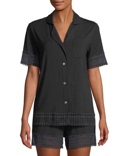 Lunna Lace-Trim Shortie Pajama Set