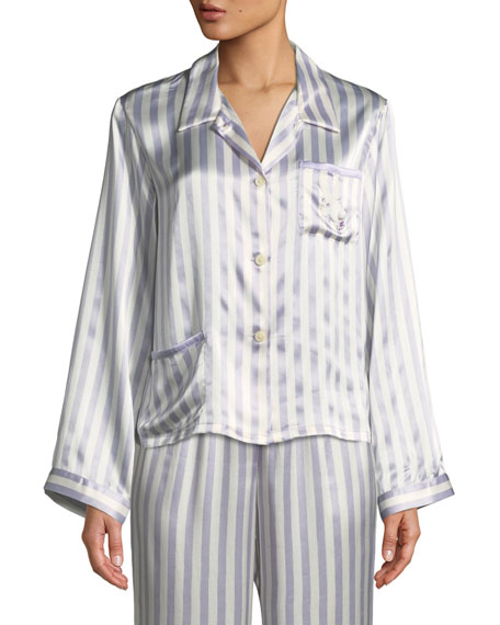 Morgan Lane Chantal Bunny Striped Pajama Top