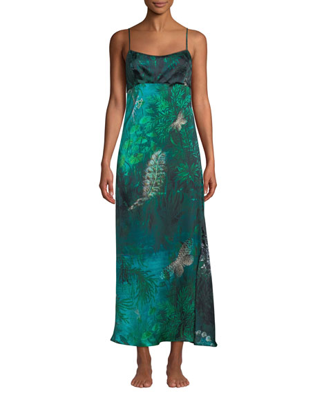 Morpho + Luna Chloe Forest Sleeveless Silk Nightgown