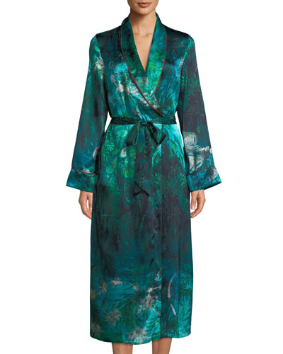 Bianca Forest Silk Long Robe