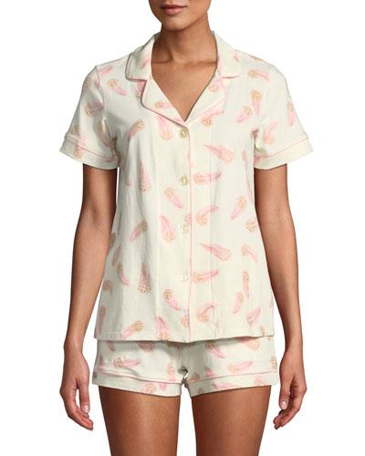 Pink Feathers Knit Shortie Pajama Set