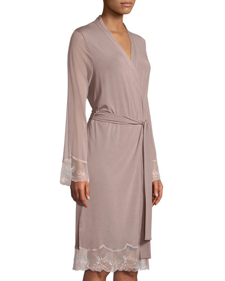 Frisson Vegetal Lace-Trim Robe