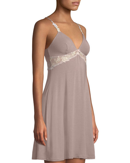Frisson Vegetal Lace-Trim Chemise Nightie