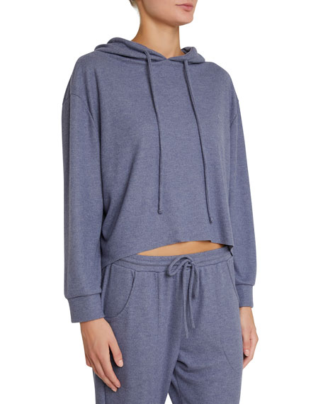 Mina High-Low Lounge Hoodie Sweatshirt in Coal Blue