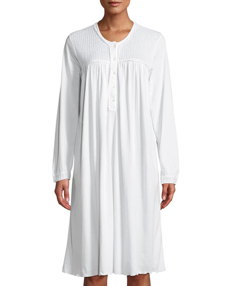 P JAMAS Angele Long-Sleeve Nightgown in White