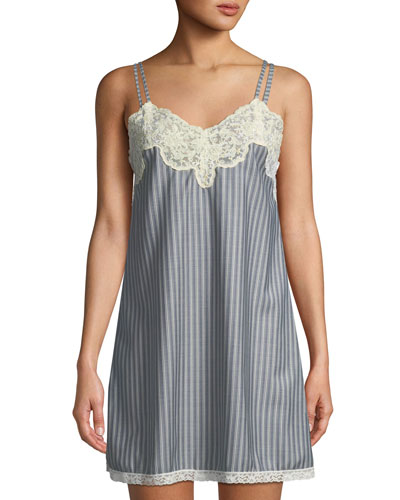 Margot Striped Double-Strap Chemise