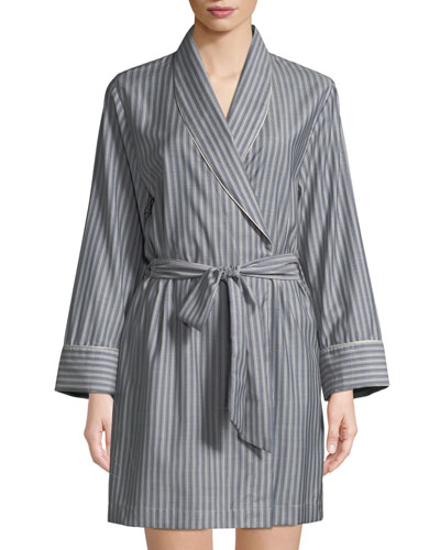 Alix Striped Wool Short Robe