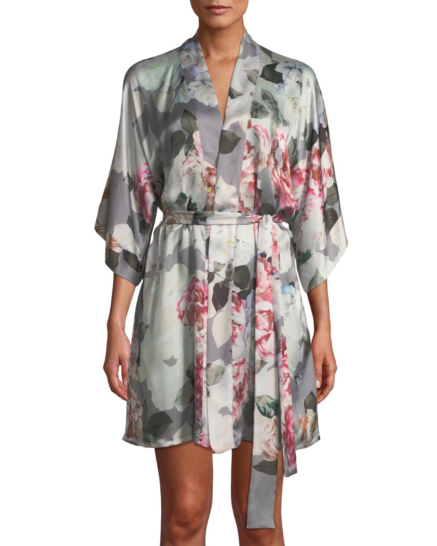 fe23df21649 Christine Lingerie Jolie Floral-Print Silk Short Robe