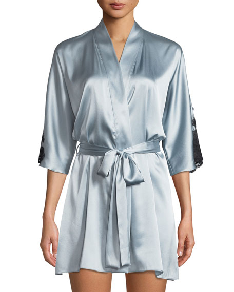 Christine Lingerie Flutter 3/4-Sleeve Charmeuse Robe and Matching