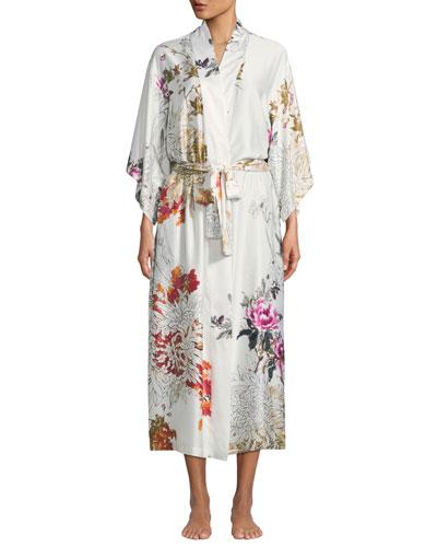 Nikko Floral-Print Long Robe
