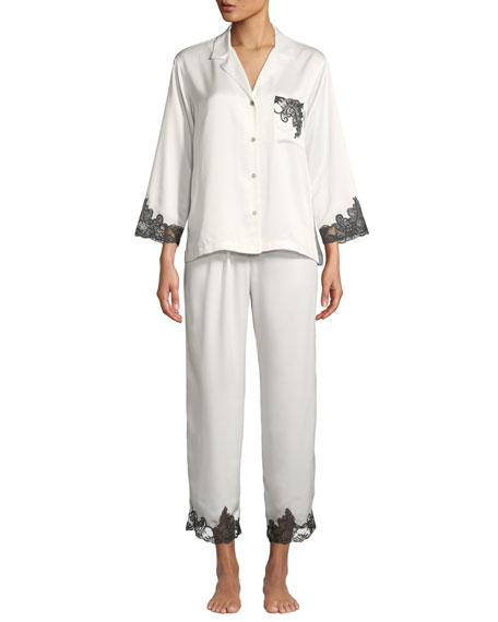 Natori Plume Lace-Trim Satin Pajama Set