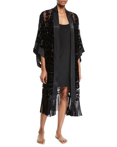 Poppy Burnout Fringe Long Kimono Robe